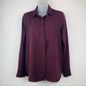 H&M burgundy women's button up shirt